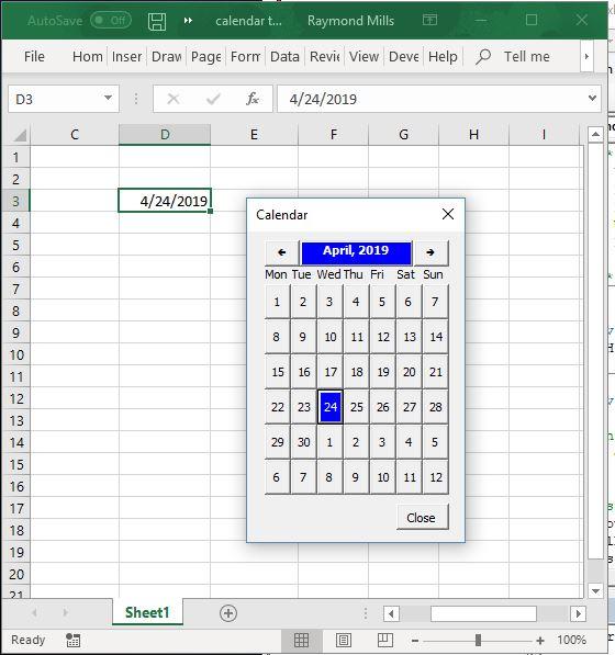 Excel VBA Calendar Tool
