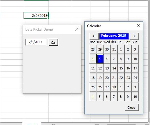 Excel VBA Calendar Tool used as a popup for a form