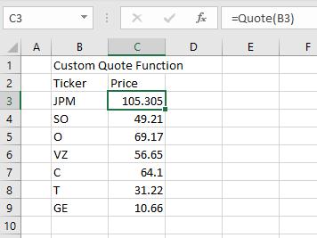 The Quote VBA Custom Function