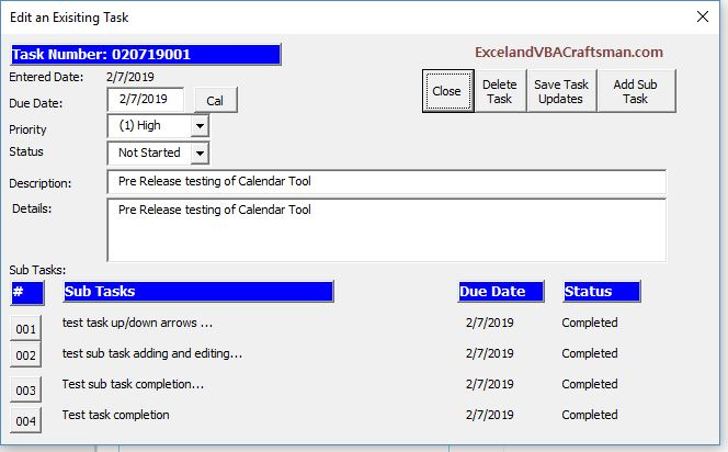 Excel VBA To Do Tool allows you to edit a task or a sub task