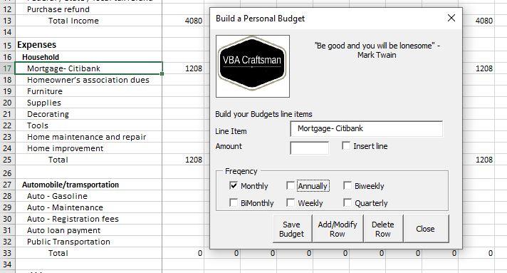 Excel VBA Budget Tool