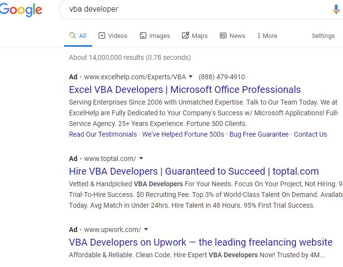Google Search Results VBA Developers page 1