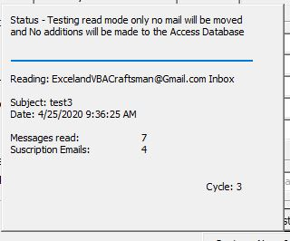 Subscription Tool Status form