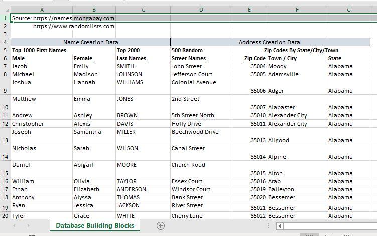 build any size sample customer database.