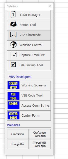 SideKick an Excel Productivity Tool